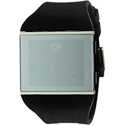 THE ONE Slim Square SLS113B3 Men's Black Silicone Strap Watch