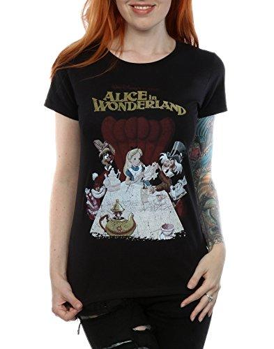 Disney Femme Alice In Wonderland Retro Poster T-shirt Noir