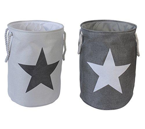 2er Set Wäschesäcke Wäschekörbe Star Sterne im Vintage Look Grau & Weiß
