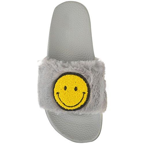 Donna Emoji Smiley FACCIA MORBIDI PELLICCIA FINTA passanti SANDALI SCARPE gotico taglia GRIGIO PELLICCIA FINTA / FACCIA SORRIDENTE faccia