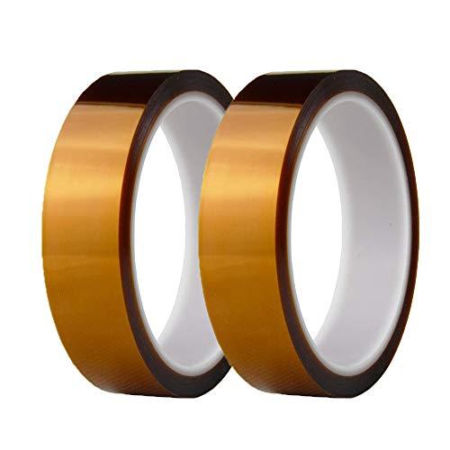 KingBra 2 Stück 25 mm x 33 m Klebebänder Hochtemperatur-Tapes Hitzebeständige Klebebänder Sublimation Dye Becher Elektronische Polyimid Film Tape -