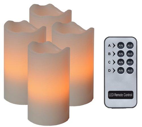 Best Season - Velas con luz led (4 unidades, con mando), color marfil