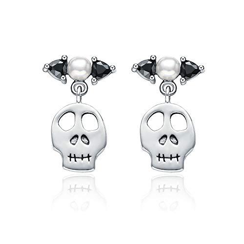 Orecchini pendenti a forma di teschio, in vero argento sterling 925, con perle finte bianche