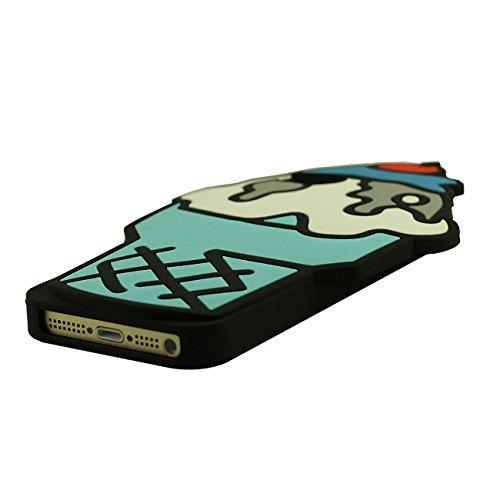 Apple iPhone SE Coque Case, Bonbons Crème glacée Forme Silicone Gel Doux Housse de Protection pour iPhone 5 5S 5C 5G avec 1 stylet bleu