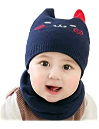 Ziory Baby Boy s and Girl s Warm Baby Hat and Knitted Scarf Set (Navy Blue 89ecf5d07711