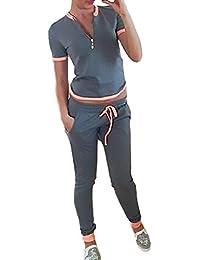 Mujer Conjuntos Pantalon Y Camisetas Sudaderas 2 Piezas Conjunto Moda Casual Conjuntos Deportivos Pantalones Chandal T Shirt Top Niñas