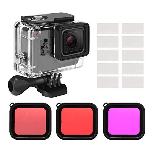 Kupton Gehäuse Filterkit für GoPro Hero 7/(2018)/6/5 Schwarz,Wasserdichtes Gehäuse Tauchgehäusehülle+3Pack Filter+Anti Beschlag-Eeinsatz+Halterungszubehör für Go Pro Hero7/6/5 Black Action-Kamera