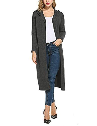 Beyove Damen Strickjacke mit Spitze Offene Cardigan Strickmantel Outwear Langarm mit Kapuze Mantel Coat (EU 42(Herstellergröße: XL), C+Dunkelgrau)