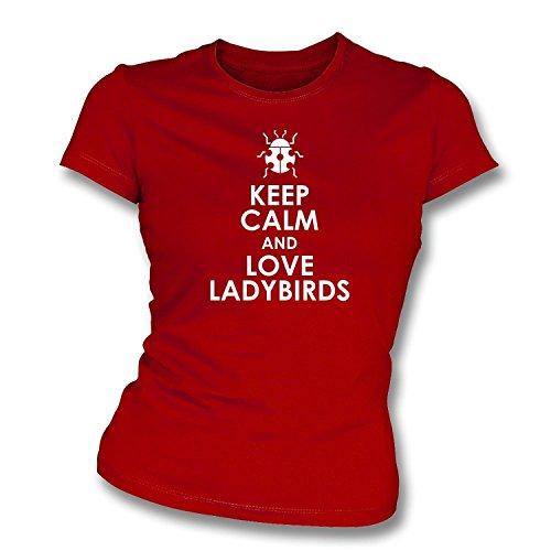 Bewahren Sie die Ruhe und Liebe Marienkäfer Womens Slim Fit T-Shirt Rot