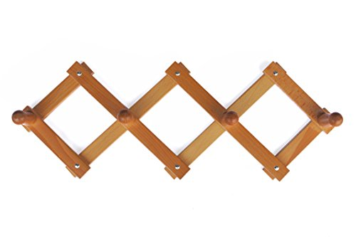 Home system r21450 portabiti appendiabiti in legno a 4 posti, richiudibile estensibile, legno naturale