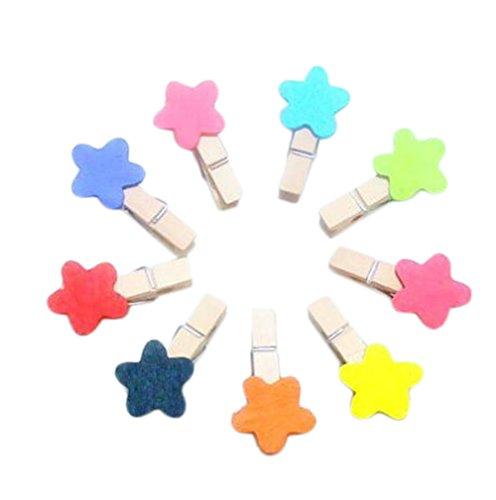 Nikgic 10 Stück Farbe Einfache Kleine Seestern Mini Holzclip DIY Foto Papier Postkarte Clip Hochwertige Holzclip
