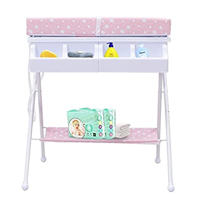 Baby Changing Table Metal Tube Nursing Desk Collapsible Portable Bathtub Nursing Massage Table Sponge Touch Table Multifunction 0~2 Year Old Baby Shower Stand Comfortable (Color : B)
