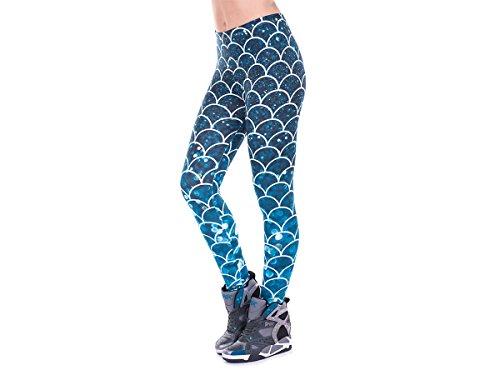 Alsino Leggings Gym Leggins für Damen - One Size Einheitsgröße - All-Over-Print Motive, Fischschuppen Blau (LEG-143)