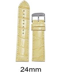 Like 24 Mm Croco Leather Padded Cream Watchband