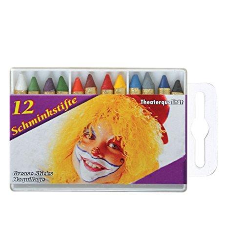 Party Kostüm Motto Ideen B (Schminkstifte 12er Set für z.B. Clowns, Cowboy und Indianer Prinzessin Teufel Tiger und vieles mehr in Theaterqualität Schminkfaren Schminke Pocketformat Körperbemalung)