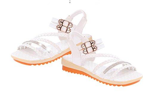 Sommer offene Sandalen weibliche Studenten flach mit niedrigen Absätzen Wort cingulären weiche Sohlen Schuhe White
