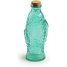 Black Velvet Studio - Botella Fish Vidrio y Corcho, Color Verde Claro para Agua o