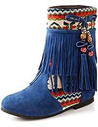 Minetom Mujer Otoño Invierno Cuero Nobuck Calentar Botas De Flecos con Cuentas Zapatos Cargadores Cómodo Botines