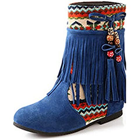 Minetom Mujer Otoño Invierno Cuero Nobuck Calentar Botas De Flecos con Cuentas Zapatos Cargadores Cómodo
