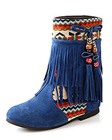 Minetom Femme Hiver Cuir Nubuck Tassel Neige Cheville Flat Bottines Perlé Chaussures Mode Bout Rond Bleu EU 36