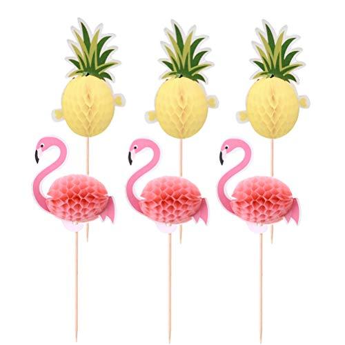 Amosfun 3D Flamingo Ananas Kuchen Topper Hawaii Cake Picks Kuchen Dekoration für Tropische Sommer Hawaii Party Dekoration pcs 10 Stücke