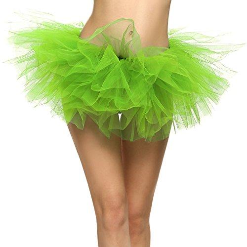 SRANDER Damen Tüllrock Tütü Tutu Petticoat 5 Schicht Ballet Tutu Tanz Röcke Einheitsgröße Grün