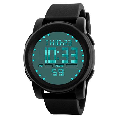 Montre de sport Homme,zycShang Montre-bracelet imperméable à l'eau de Digital Sport LED (Noir#2)