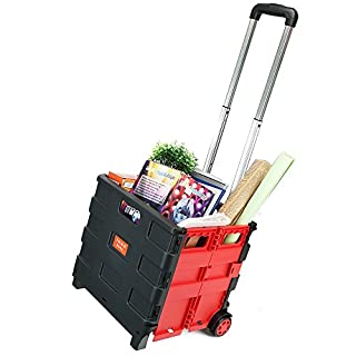OGORI 25kg Folding Shopping Trolley Storage Boot Cart Box Crate Car Van Camping