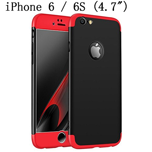 iPhone 6s Case, iPhone 6 4.7 Case, Heyqie 360 Degree Full Protection 3 in 1 Ultra Slim Anti-Scratch Shockproof Smoothly Protective Hard PC Cover Case For Apple iPhone 6 6s 4.7, Red&Black Black shell + Red frame