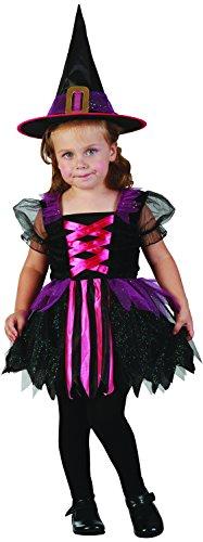 Zauberhafte Hexe - Hexenkostüm für Kinder Mädchen Kleinkinder Halloween Größe 92-104 mit Hut