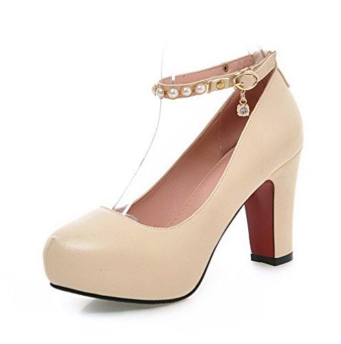 AllhqFashion Damen Rund Zehe Hoher Absatz Weiches Material Rein Schnalle Pumps Schuhe Cremefarben