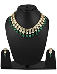 Shining Diva Fashion Green Kundan Traditional Necklace Jewellery Set for Women (9788s)