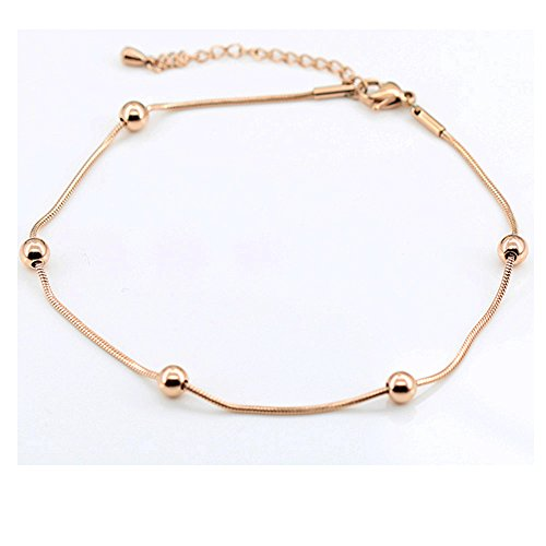 findout. high quality. 14K rose gold plated titanium steel smooth bead anklet (f1287)