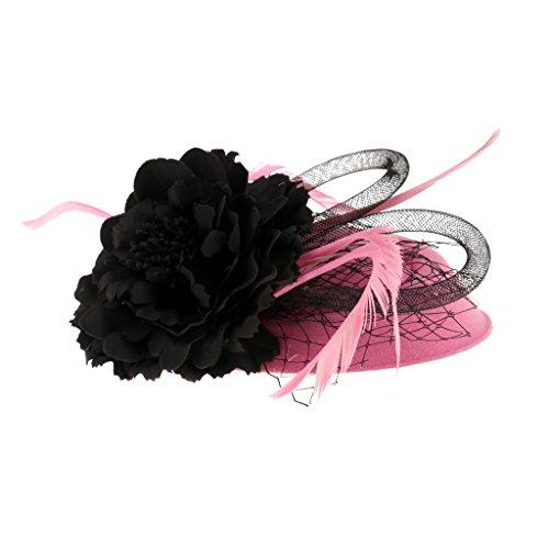 Generic Frauen Sinamay Fascinator Hut Feder Partei Pillbox Hut Flower Derby Hut - Rosa