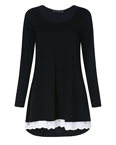 StyleDome Donna Manica Lunga Maglietta Moda Casual Elegante T-shirt Bello Loose Nero