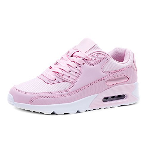 Trendige Damen Laufschuhe Schnür Sneaker Sport Fitness Turnschuhe Glitzer Pink 36