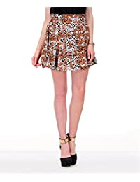Yepme Women's Brown & Multicolor Poly Cotton Skirt - YPMSKRT5031-$P