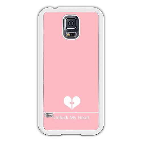 Samsung Galaxy S5 I9600 Case,Unlock My Heart,Pink Background Durable Hard Plastic Scratch-Proof Protective Case,White