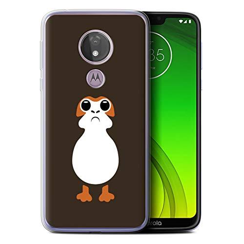 eSwish Gel TPU Hülle/Case für Motorola Moto G7 Power/PORG Kunst Inspiriert Muster/Nette Sci-Fi Gesichter Kollektion