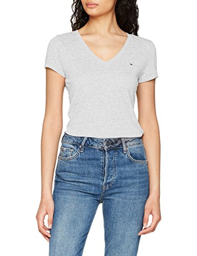 Tommy Jeans Damen T-Shirt Tjw Triblend Tee, Grau (Light Grey Htr 000), X-Large (Frauen-logo-jeans)