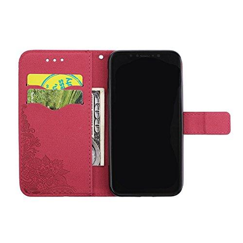 JIALUN-étui pour téléphone Phenix Flowers Embossing Pattern Faux Leather Horiontal Folio Stand Case avec Lanyard Card Slots pour iPhone X ( Color : Red ) Red