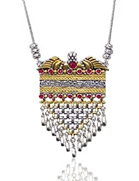 Sansar India Long Chain Dual Tone Pendant Tassel Necklace For Girls And Women