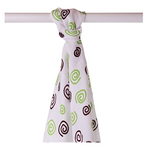 XKKO bmb09 0033 A Couche Serviettes à langer Bambou, allaiter, comme tapis ou couverture légère, couches 90 x 100 cm, VERT
