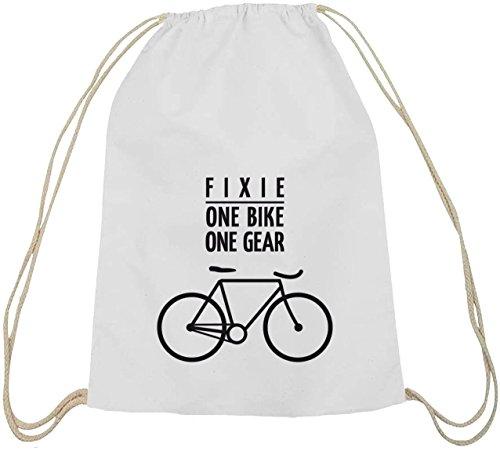 Shirtstreet24, Fixie - One Bike, Singlespeed Fahrrad Baumwoll natur Turnbeutel Rucksack Sport Beutel weiß natur