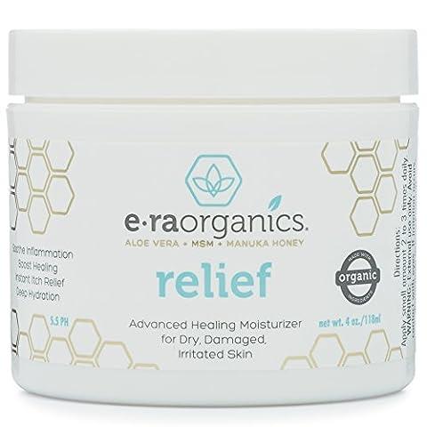 Era Organics Psoriasis & Eczema Cream 120ml Advanced Healing Non-Greasy Treatment with Organic Aloe Vera, Manuka Honey, Hemp Oil & More. Natural Moisturiser for Dermatitis, Rosacea, Shingles, Dry, Itchy Skin