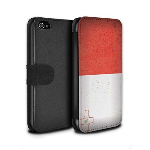 STUFF4 PU-Leder Hülle/Case/Tasche/Cover für Apple iPhone 7 / Mazedonien/Mazedonisch Muster / Europa Flagge Kollektion Malta/Maltese