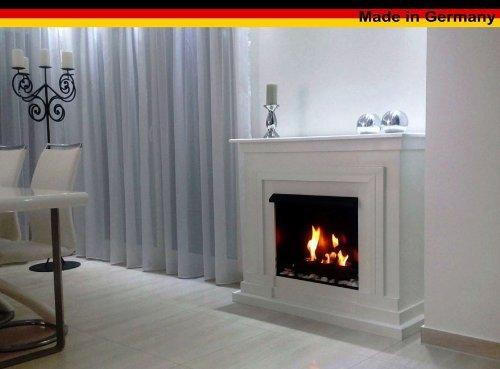 Kaminbau Mierzwa Ethanolkamin Gelkamin Modell Berlin Deluxe Weiß - Inkl. einem 3 Liter Brenner und Weiße Deko Steine
