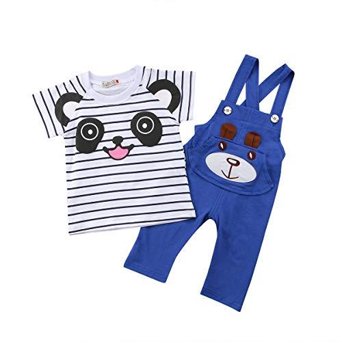 Baby Junge Mädchen Kurzarm Gestreiftes T-Shirt Tops Hose Sets Cartoon Bär Hosenträgerhose Hosen Outfits Overall für 0-24 Mt Baby Kleinkind (Blau, 6-12m)