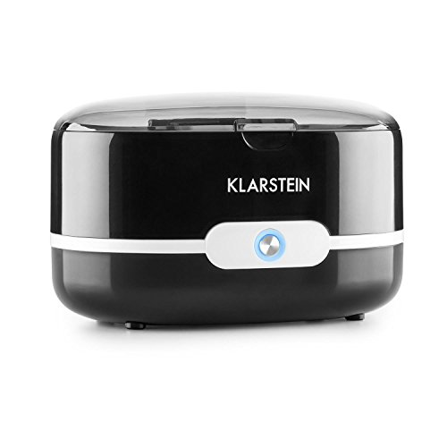 KLARSTEIN Superpure - Ultraschallreiniger, Brillenreiniger, Schmuckreiniger, Betrieb mit Leitungswasser, für Brillen/Schmuck/Münzen/Zahnersatz, 90 Sekunden, Edelstahl-Wassertank, schwarz