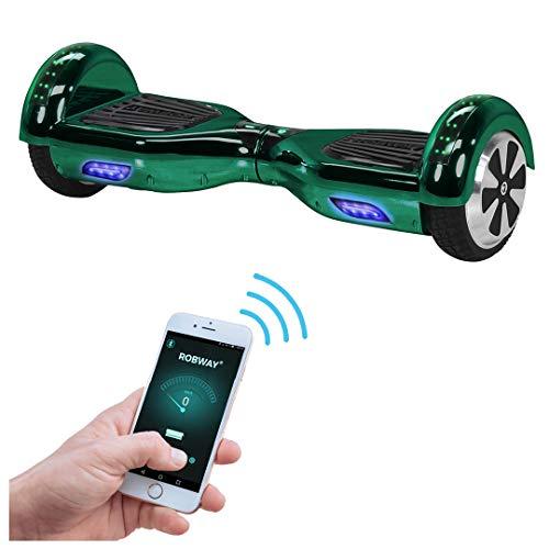 Robway W1 Hoverboard - Das Original - Samsung Marken Akku - Self Balance - 22 Farben - Bluetooth - 2 x 350 Watt Motoren - App - Led (Grün Chrom)